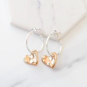 Orli Bevelled Heart Hoop Earrings in Two Tone