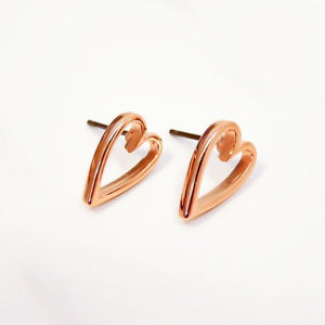 Orli Mini Open Heart Stud Earrings in Rose