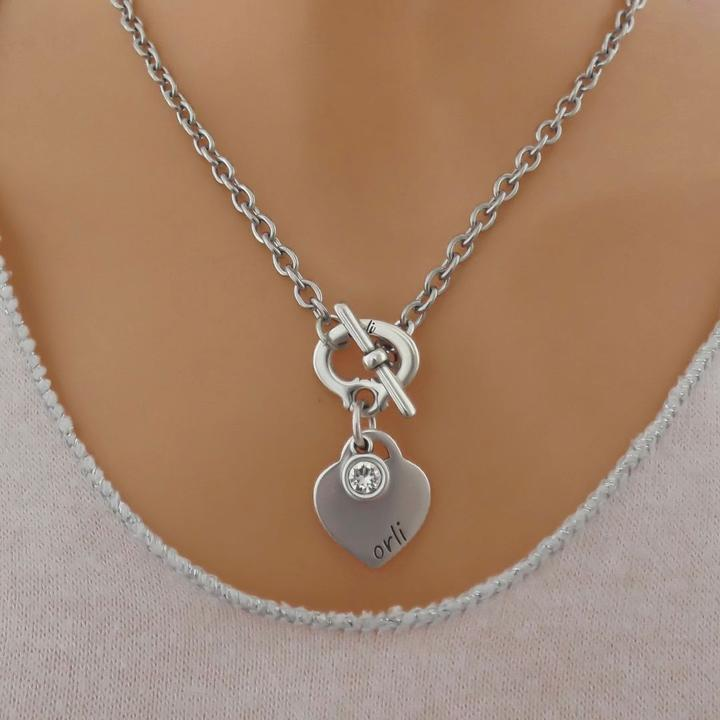 Orli Heart & Crystal Necklace