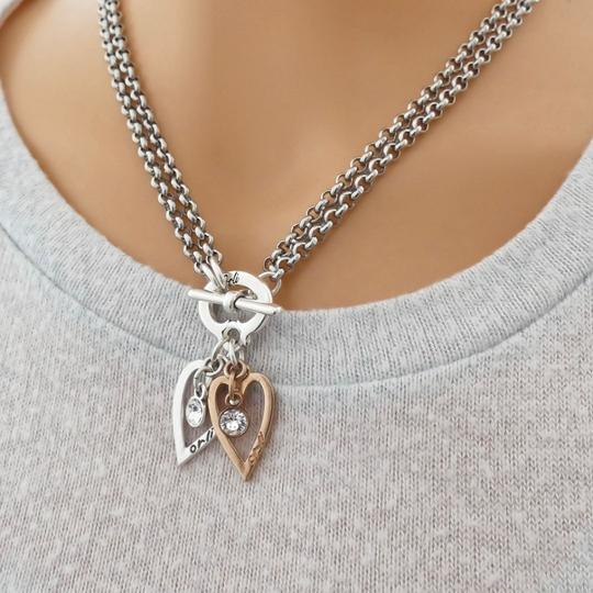 Orli Twin Mini Open Heart Long/Short Necklace in Two Tone