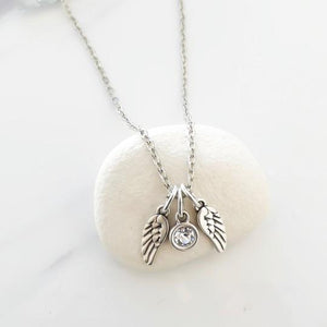 Orli Double Angel Wings & Crystal Necklace