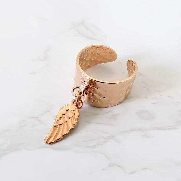 Orli Hammered Angel Wing Adjustable Ring in Rose