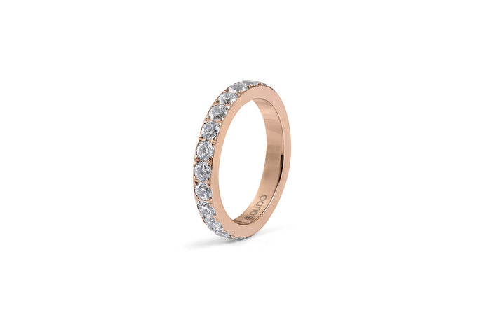 Qudo Thick Eternity Stacking Band in Rose