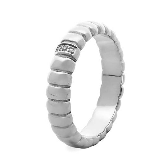 Qudo Vinovo Stacking Ring in Steel