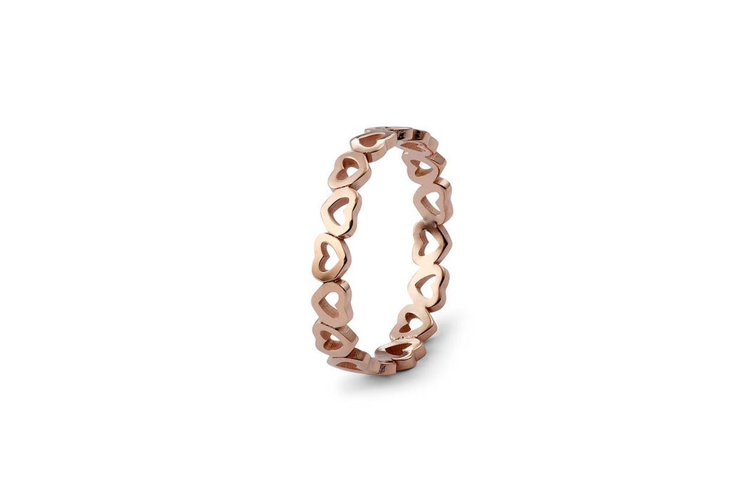 Qudo Pienza Heart Stacking Ring in Rose