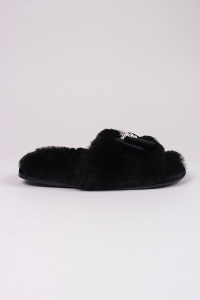 "Pretty You ""Anya"" Faux Fur Bow Slippers in Black"