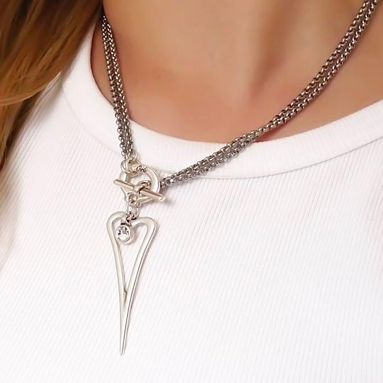 Orli Pointed Heart with Crystal Double Chain Necklace