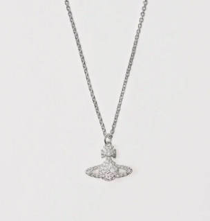 Vivienne Westwood Grace Bas Relief Necklace in Rhodium Plating