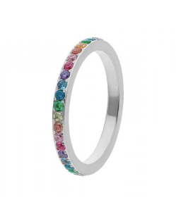 Qudo Fine Multi-Colour Eternity Band in Steel