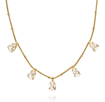 Caroline Svedbom Estelle Crystal Necklace in Gold