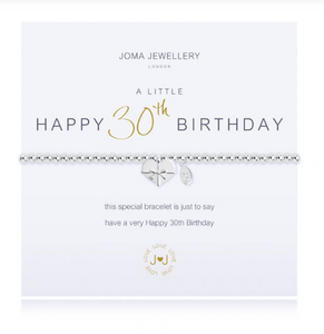 """A Little Happy 30th Birthday"" Bracelet"