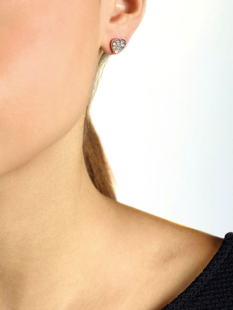 Guess Shine Crystal Heart Stud Earrings in Rose