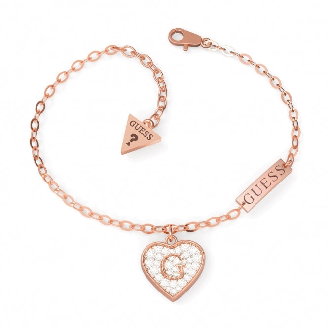 Guess Shine Crystal Heart Bracelet in Rose
