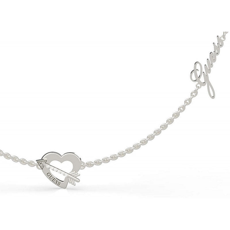 Guess Across My Heart Necklace in Silver