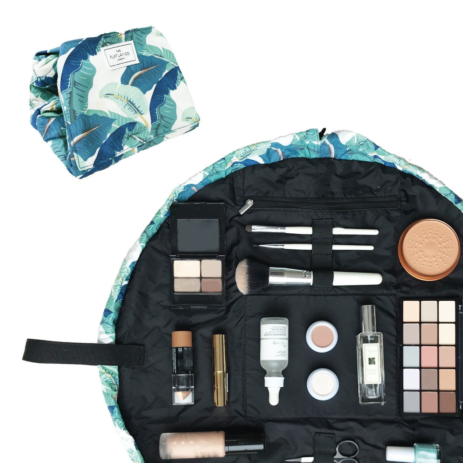 The Flat Lay Co. Tropical Leaves Full Size Flay Lay Makeup Bag
