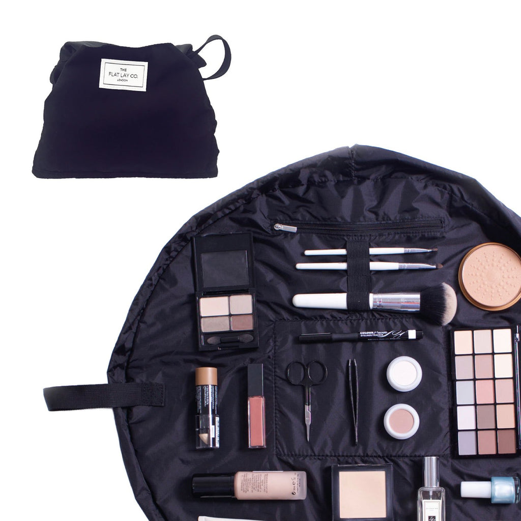 The Flat Lay Co. Classic Black Full Size Flat Lay Makeup Bag