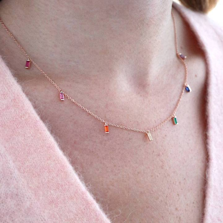 Junk Jewels Rainbow Jewelled Necklace in Rose