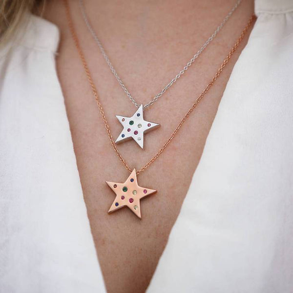 Junk Jewels Rainbow Star Necklace