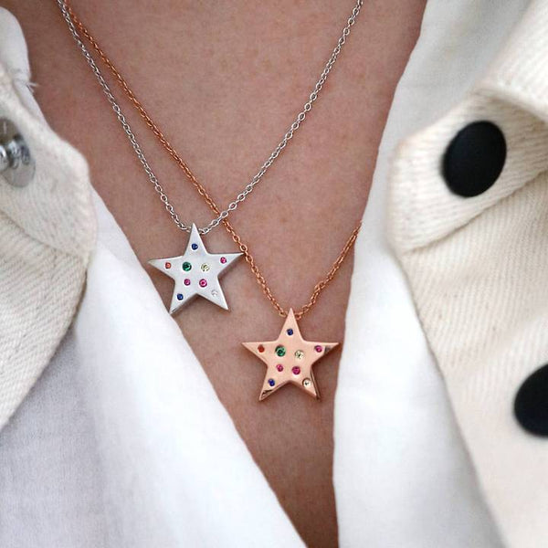 Junk Jewels Rainbow Star Necklace in Rose