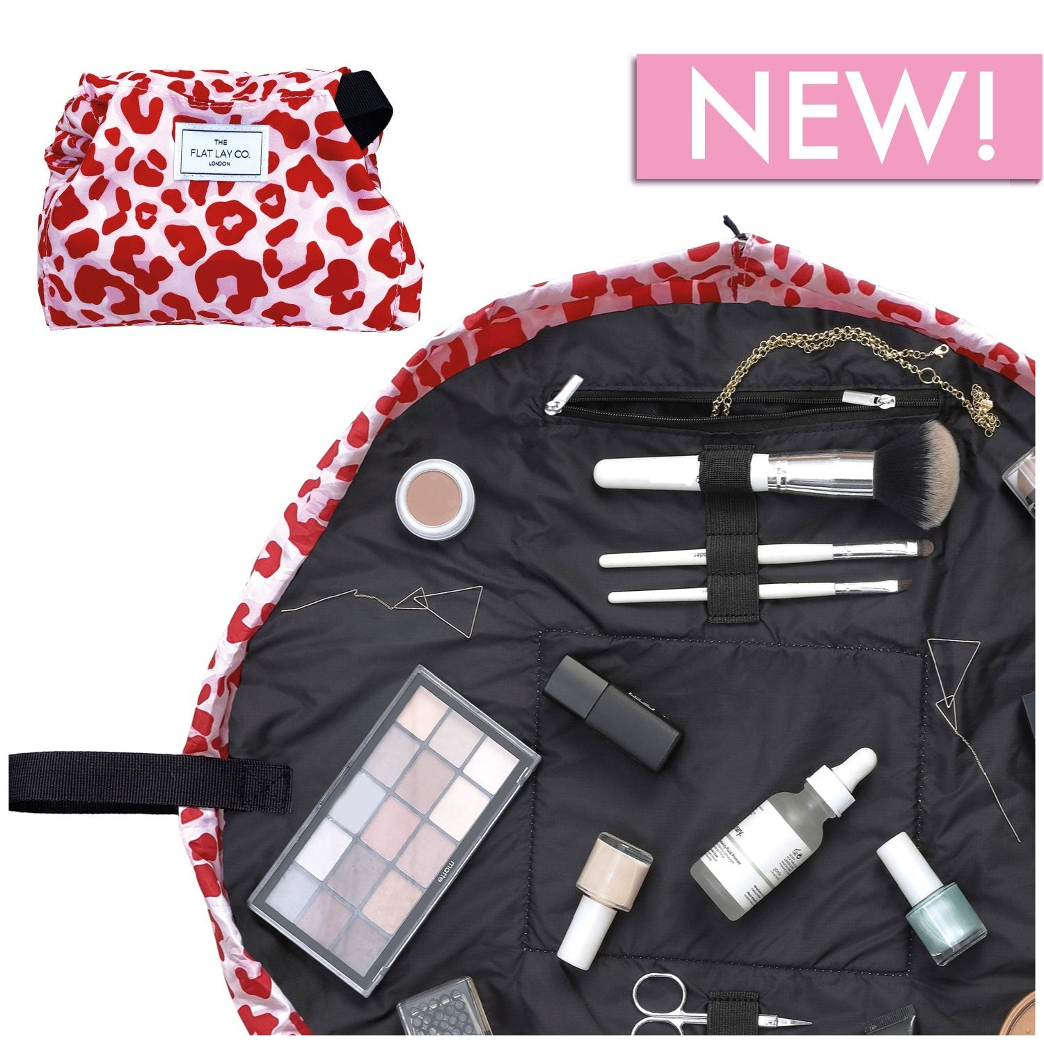 The Flat Lay Co. Pink Leopard Full Size Flat Lay Makeup Bag