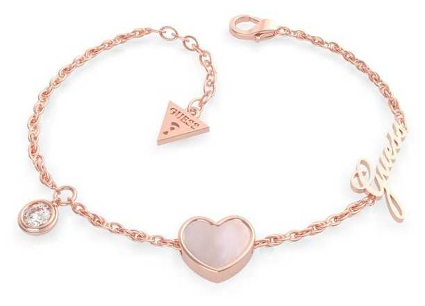 Guess Sea Gift Rose Pearl Heart Bracelet in Pink Gold