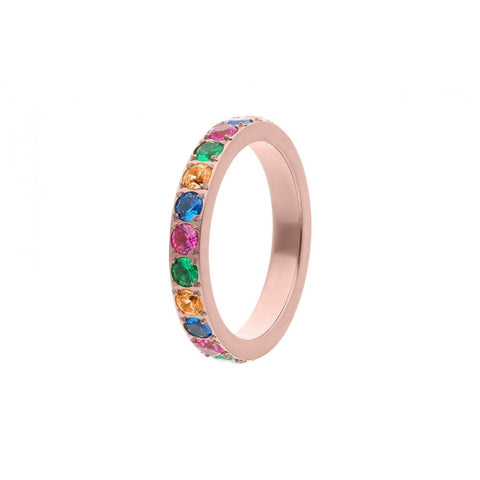Qudo Thick Multi Colour Eternity Band in Rose