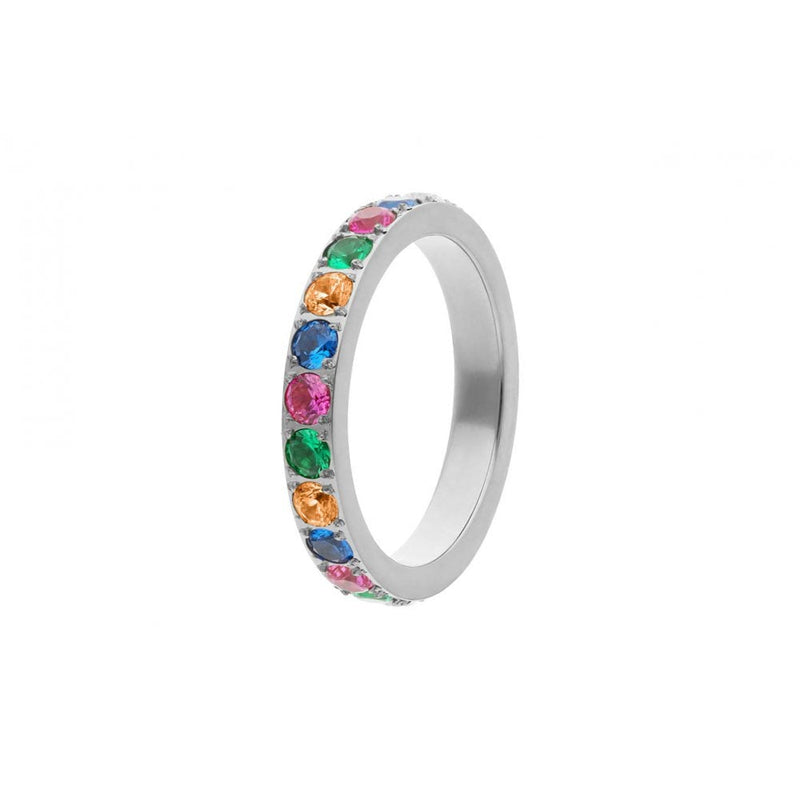 Qudo Thick Multi Colour Eternity Band in Steel