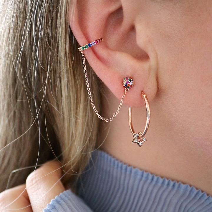Junk Jewels Star Charm Hoop Earrings in Rose Plating