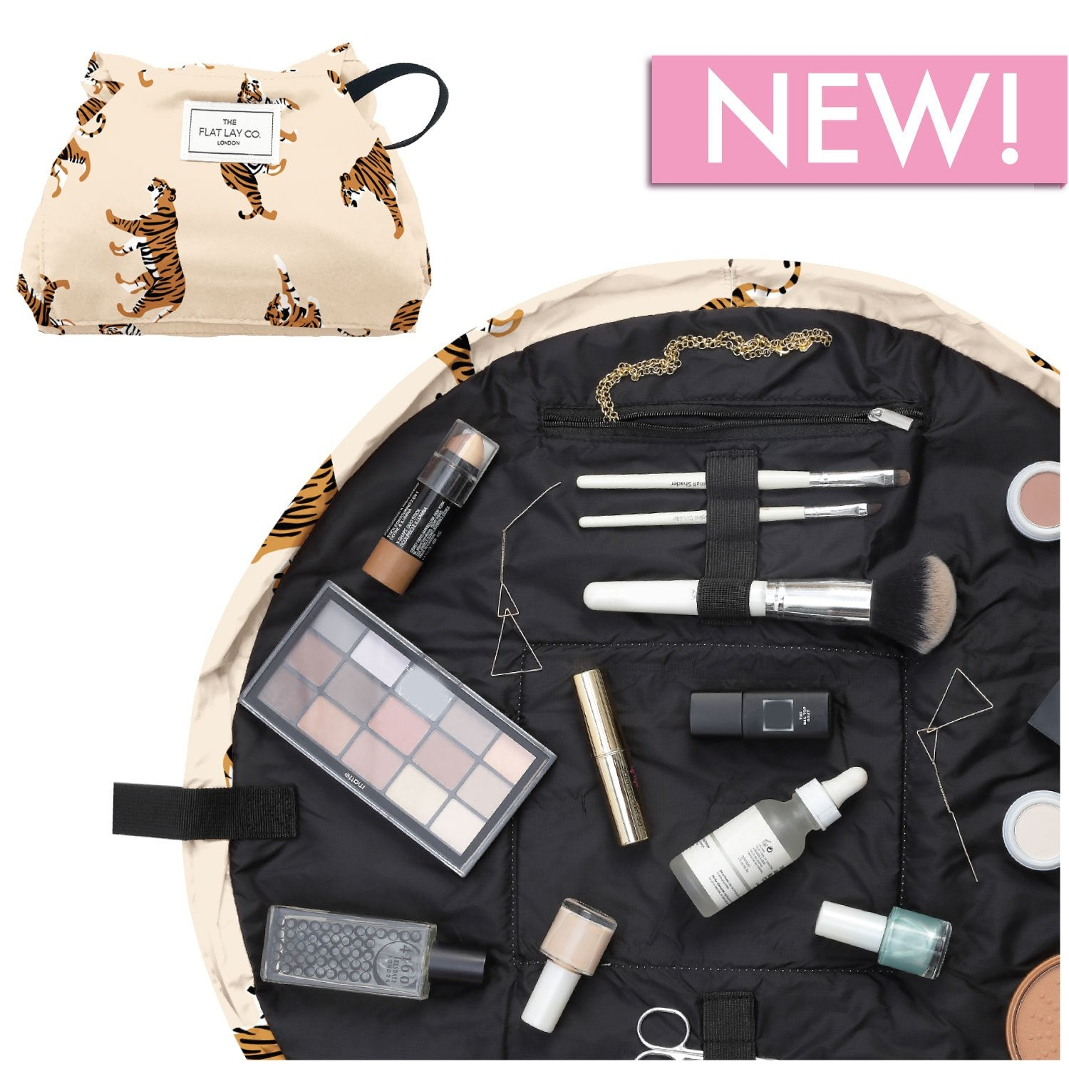 The Flat Lay Co. Neutral Tiger Full Size Flat Lay Makeup Bag