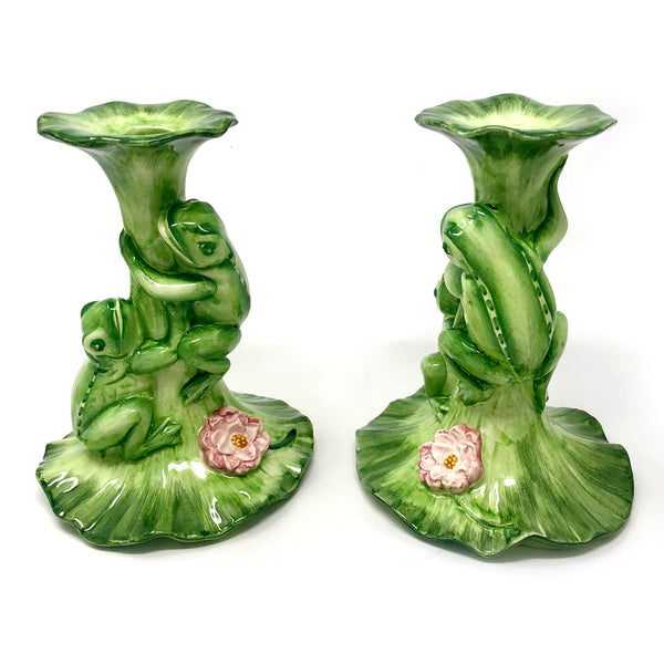 2 Frog Candle Holders
