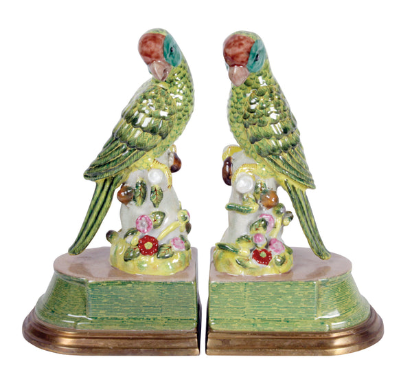 Green Parrot Book Ends