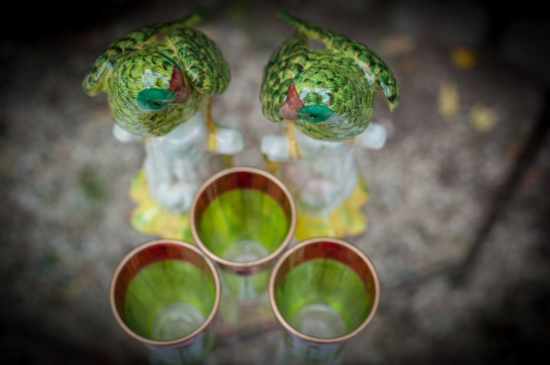 Set of two Green Parrots