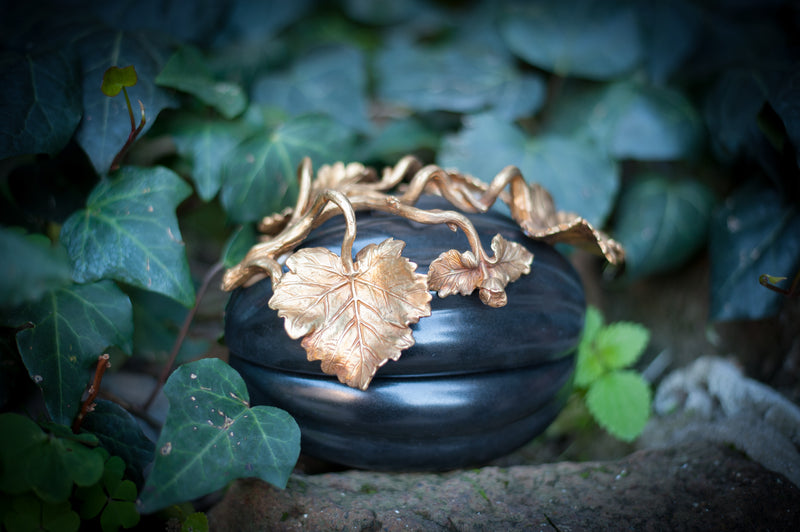 Pumpkin Box - Black Porcelain with Brass