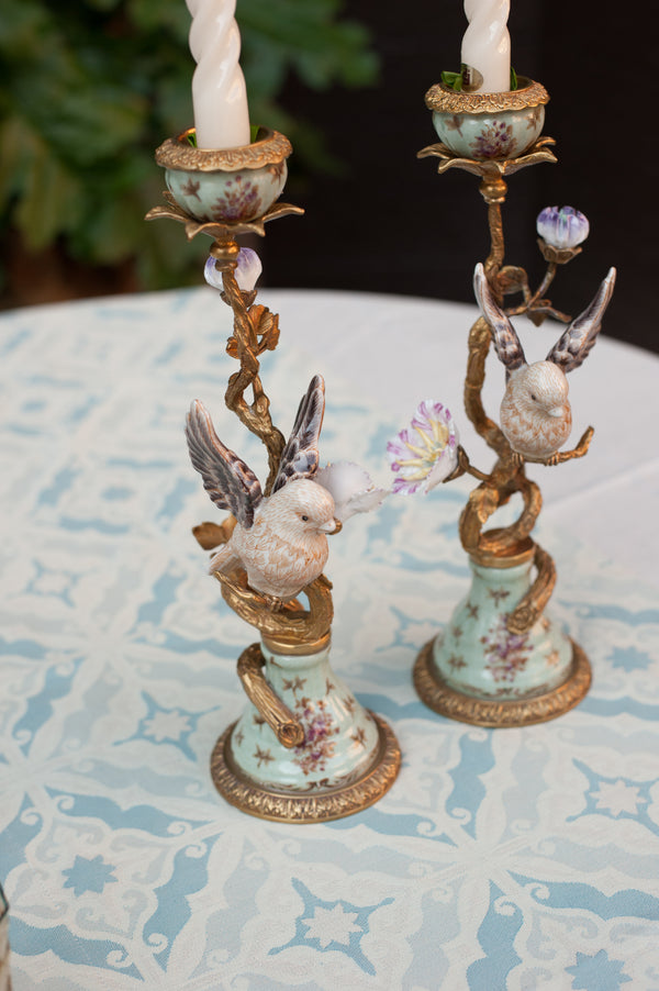 White Birds and Floral Candle Holders