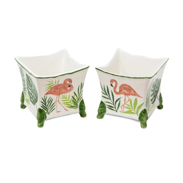 Set-of-Two Flamingo Ceramic Planter