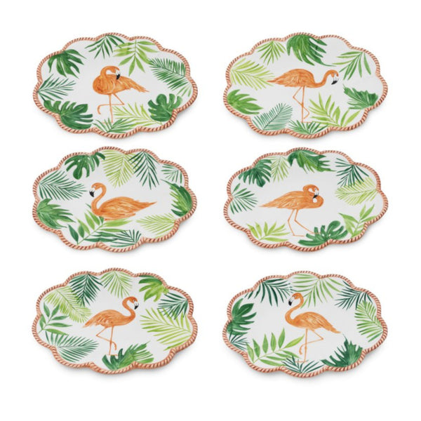 Flamingo Set-Of-Six Fruit Plates