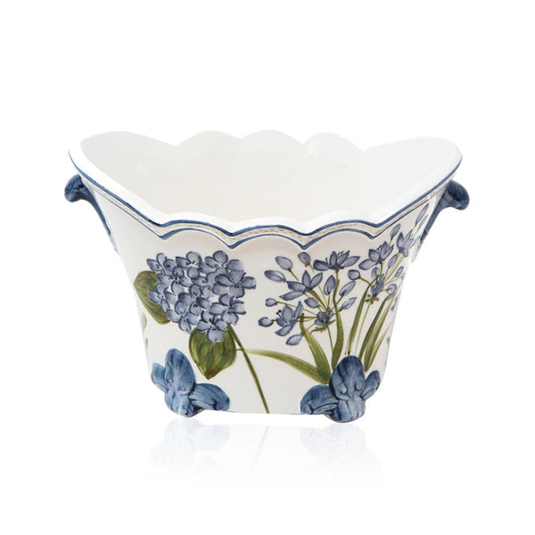Set-Of-Two Flower Large Painted Ceramic Planter