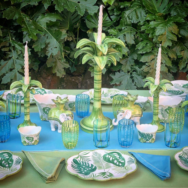 Green Palm Candle Holders - Medium