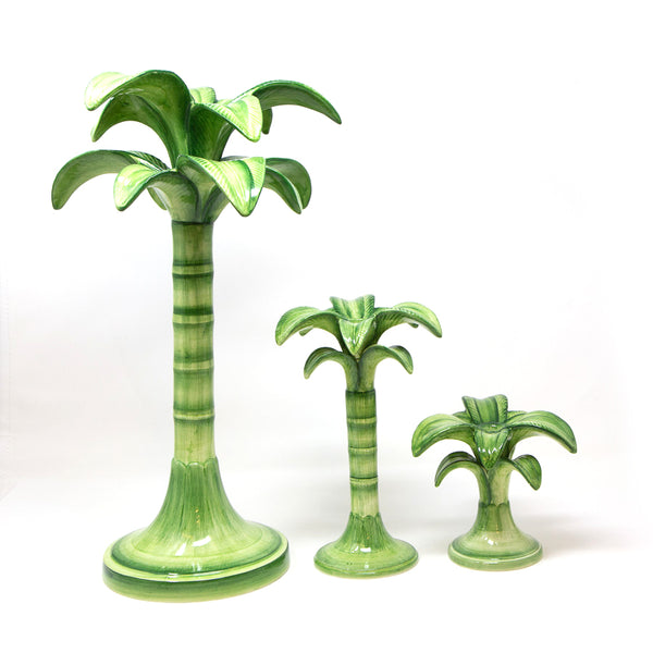 Green Palm Candleholders