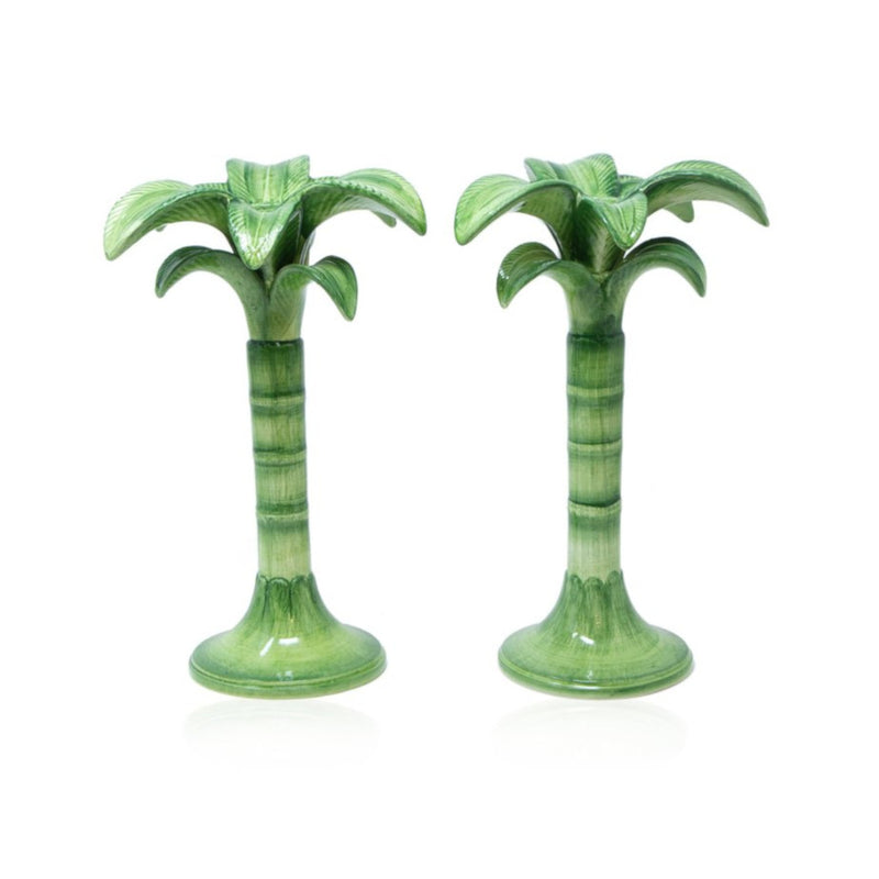 Set-of-Two Green Palm Candle Holders