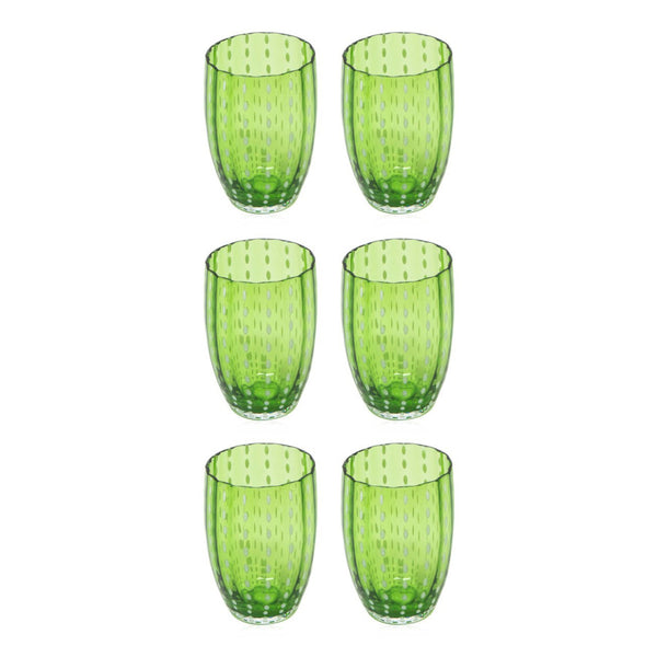 Set-Of-Six Glasses Tumblers - Green