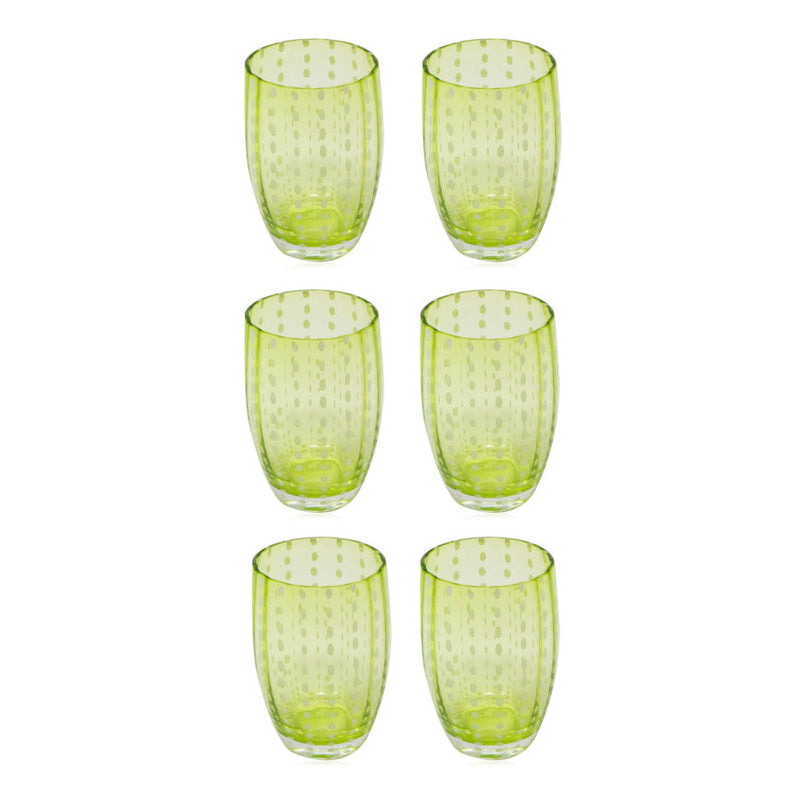 Set-Of-Six Glasses Tumblers - Light Green