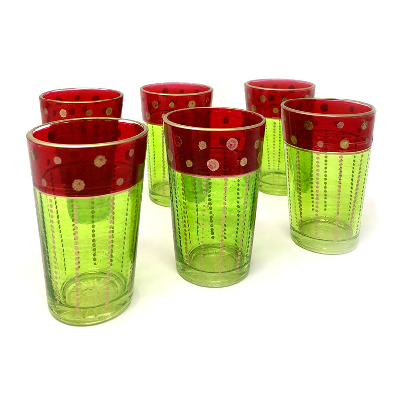 Set-Of-Six Mini Glasses - Red and Green