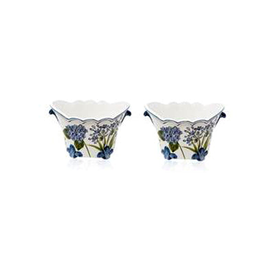 Set-Of-Two Flower Mini Painted Ceramic Planter