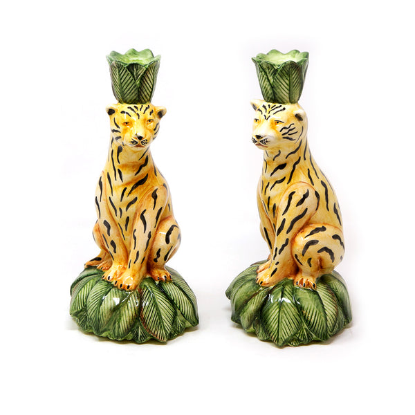 Set-of-Two Leopard Candle Holders