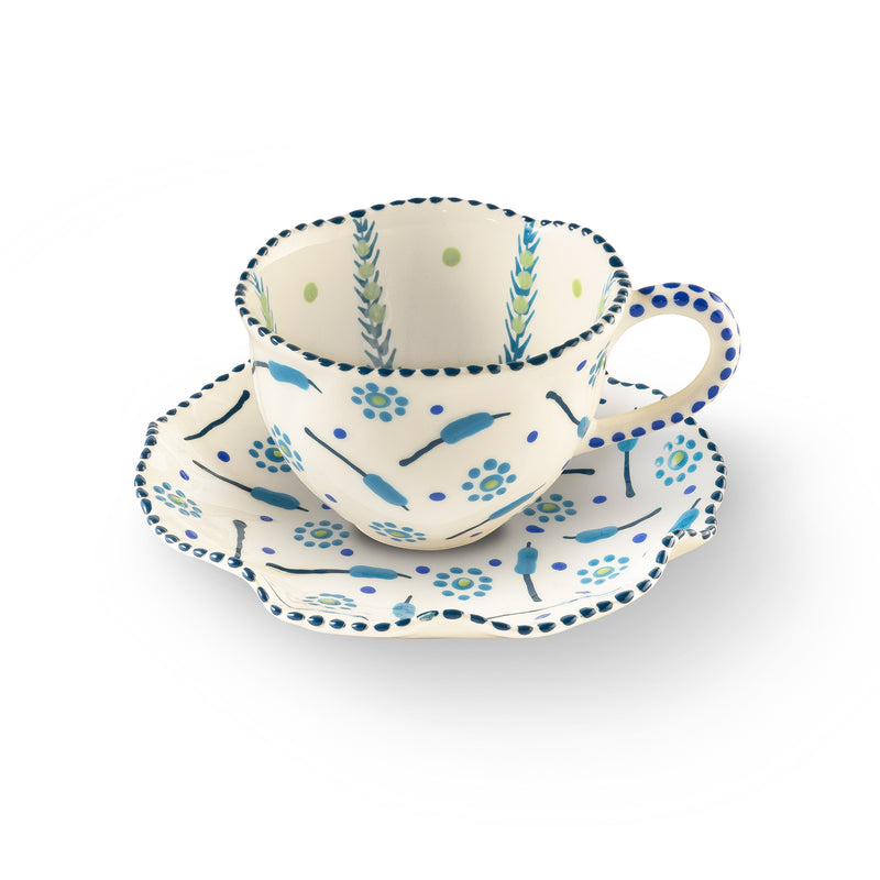 Twilly Tea Cup - Turquoise Pattern
