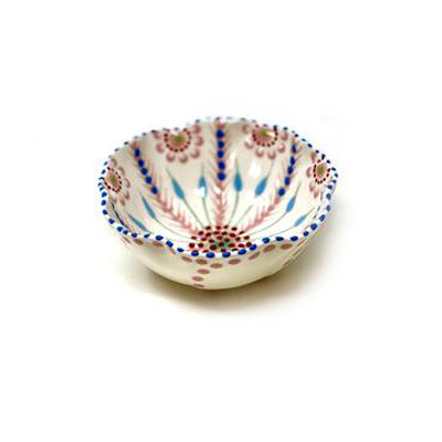 Twilly Bowl - Light Coral Red and Blue Pattern