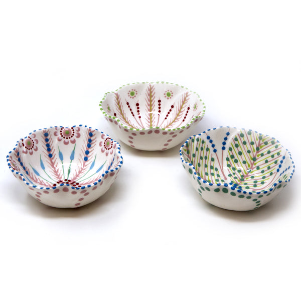 Twilly Bowl - Light Coral Red, Green and Blue Pattern