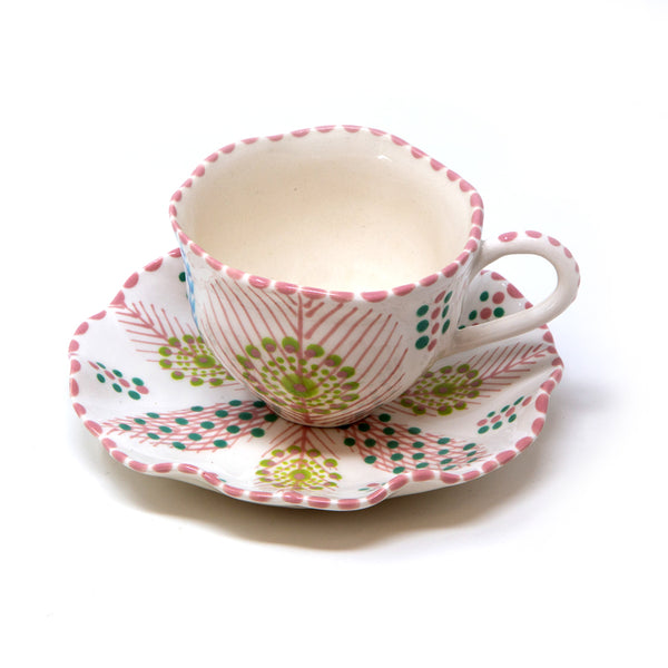Twilly Tea Cup - Light Coral Red Pattern