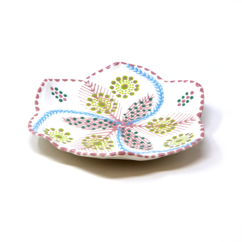 Twilly Dessert Plates - Light Coral Red Pattern